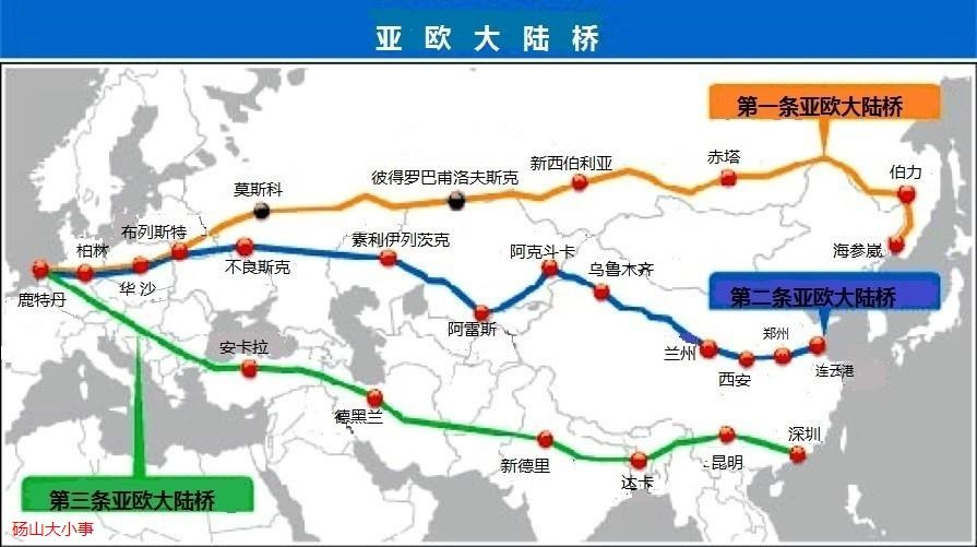 大陆桥途经江苏,安徽,河南,陕西,甘肃,青海,新疆7个省,区,65个地,市