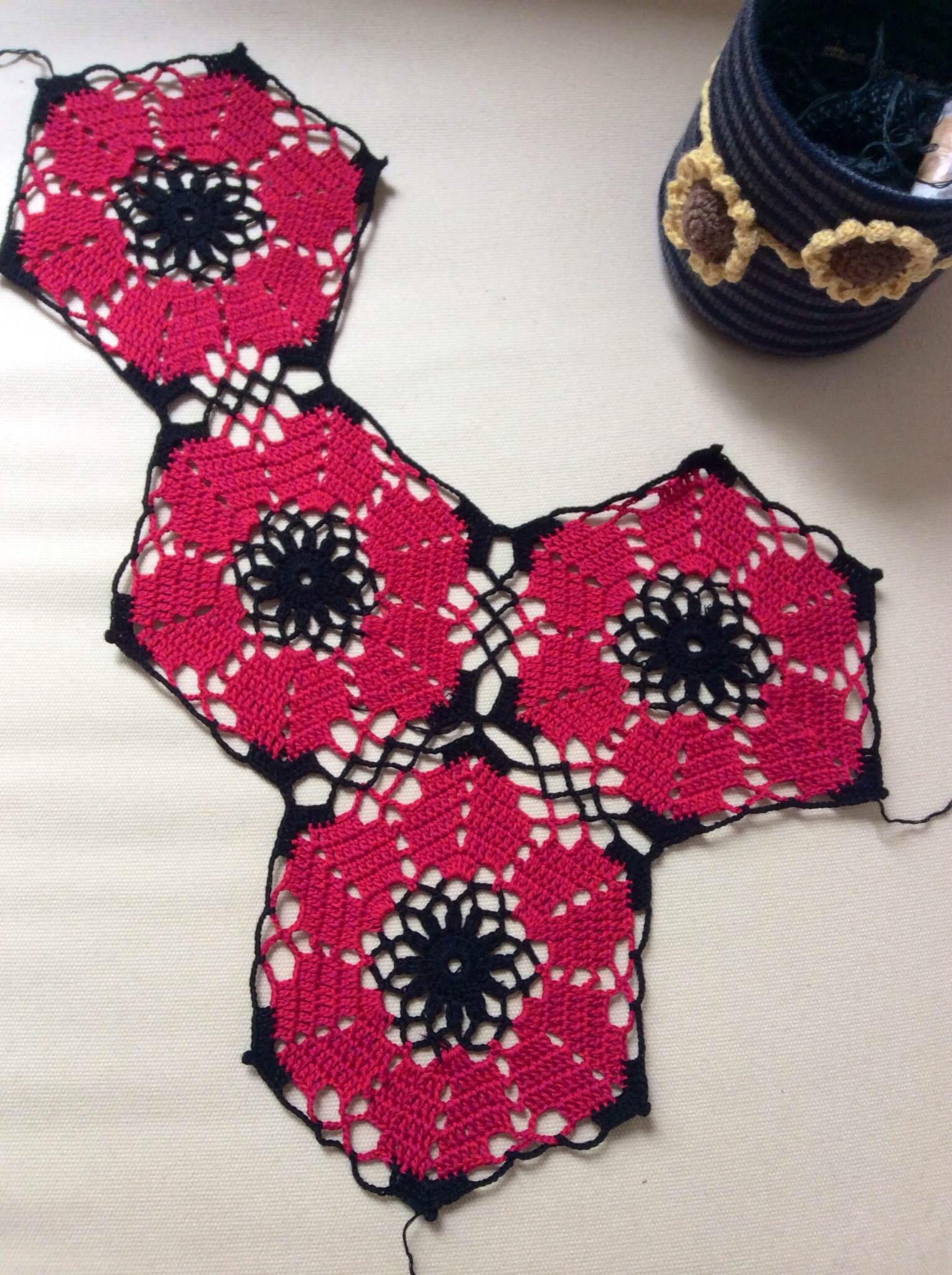 六角花的勾法图解_各种花的钩法图解